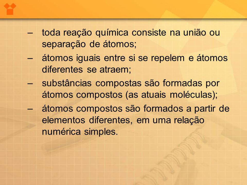 –toda reação química consiste na união ou separação de átomos; –átomos iguais entre si se repelem e átomos diferentes se atraem; –substâncias composta