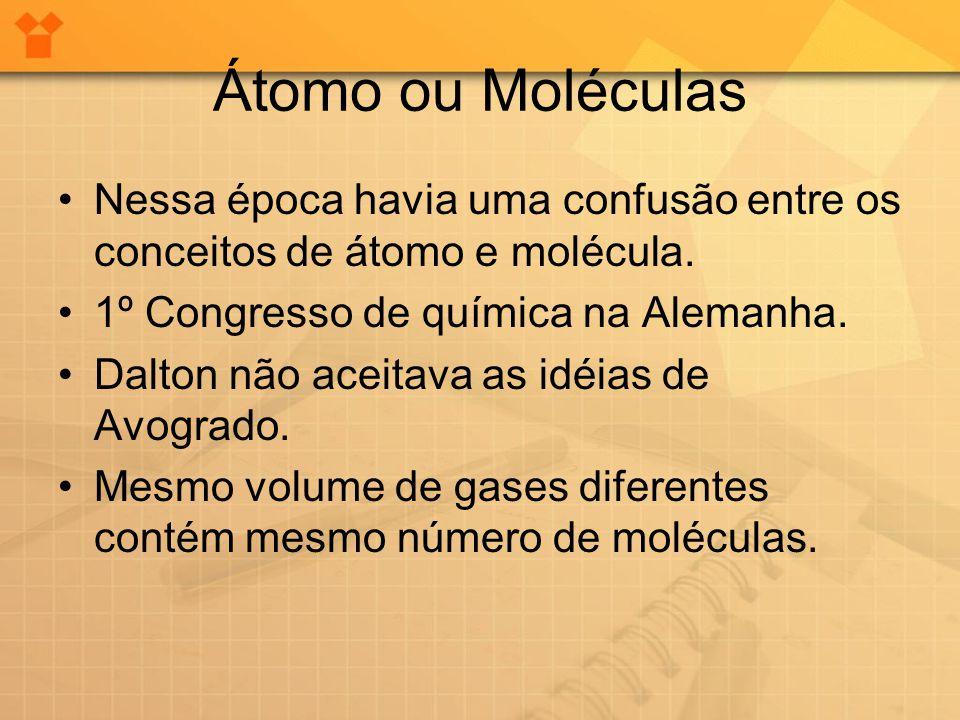 Átomo ou Moléculas •Nessa época havia uma confusão entre os conceitos de átomo e molécula. •1º Congresso de química na Alemanha. •Dalton não aceitava