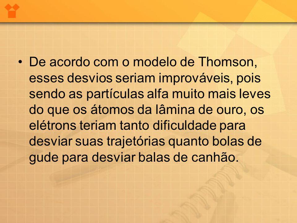 •De acordo com o modelo de Thomson, esses desvios seriam improváveis, pois sendo as partículas alfa muito mais leves do que os átomos da lâmina de our