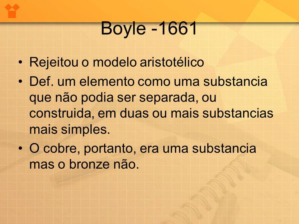 Boyle -1661 •Rejeitou o modelo aristotélico •Def. um elemento como uma substancia que não podia ser separada, ou construida, em duas ou mais substanci