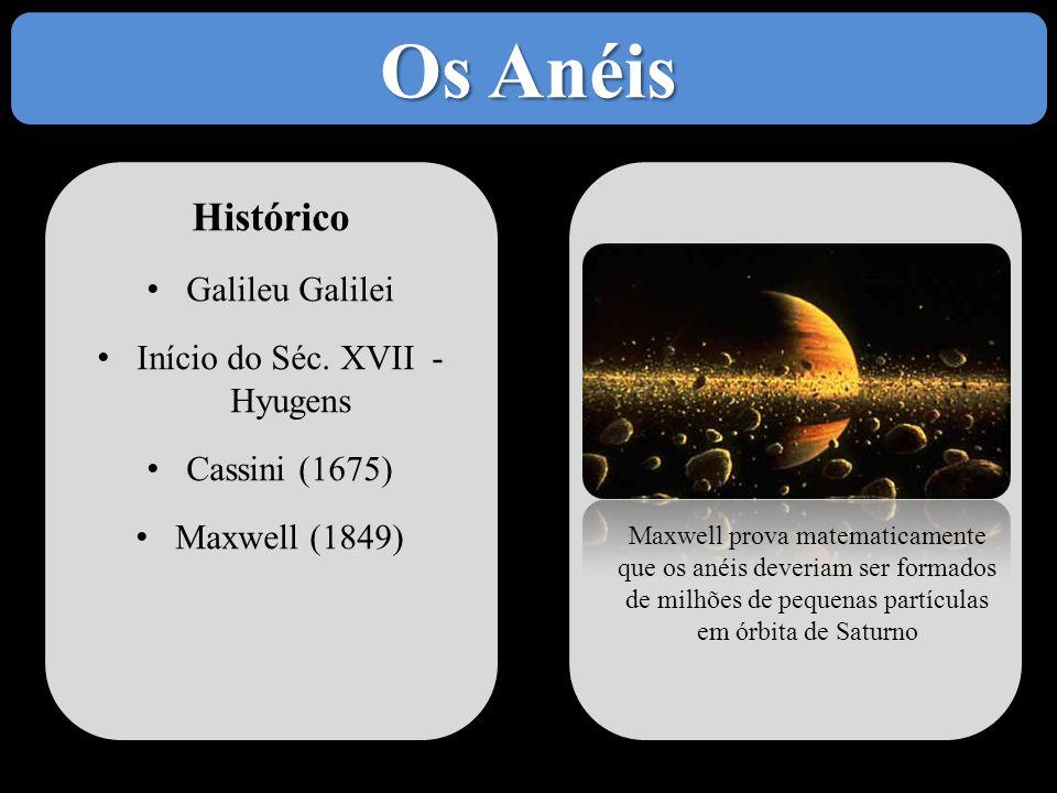 Histórico • Galileu Galilei • Início do Séc. XVII - Hyugens • Cassini (1675) • Maxwell (1849) Maxwell prova matematicamente que os anéis deveriam ser
