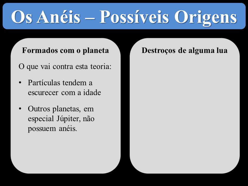 Os Anéis – Possíveis Origens Formados com o planeta O que vai contra esta teoria: • Partículas tendem a escurecer com a idade • Outros planetas, em es
