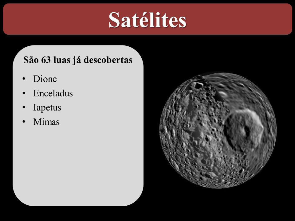 Satélites São 63 luas já descobertas • Dione • Enceladus • Iapetus • Mimas