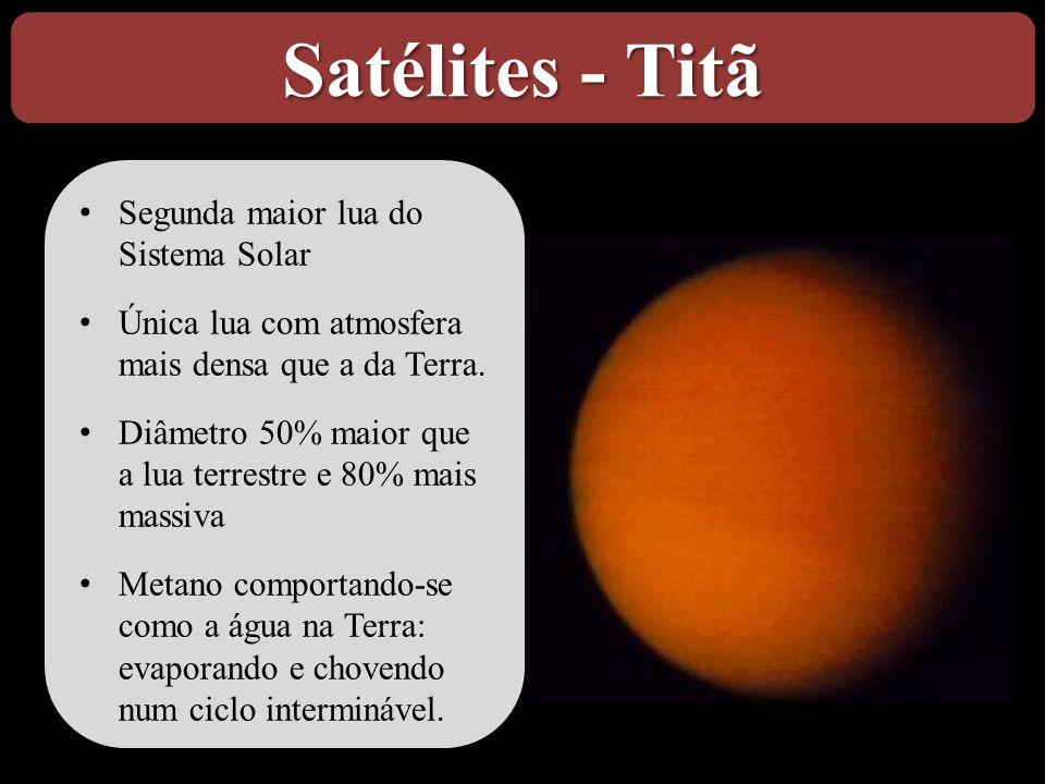 Satélites - Titã • Segunda maior lua do Sistema Solar • Única lua com atmosfera mais densa que a da Terra. • Diâmetro 50% maior que a lua terrestre e