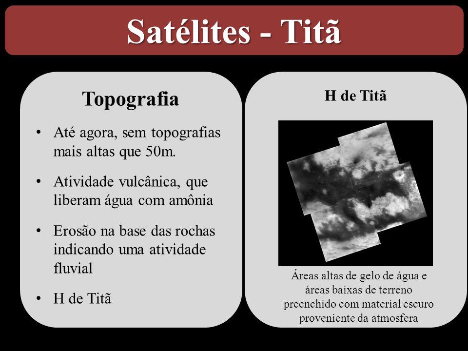 H de Titã Satélites - Titã Topografia • Até agora, sem topografias mais altas que 50m. • Atividade vulcânica, que liberam água com amônia • Erosão na