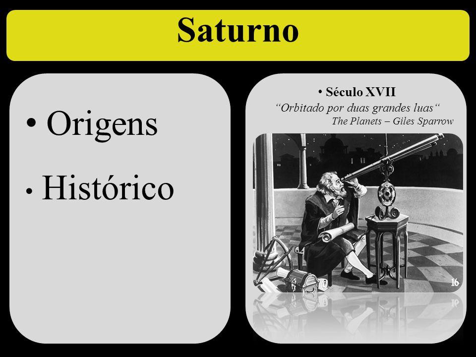 """Saturno • Origens • Histórico • Origens • Histórico • Século XVII """"Orbitado por duas grandes luas"""" The Planets – Giles Sparrow c"""