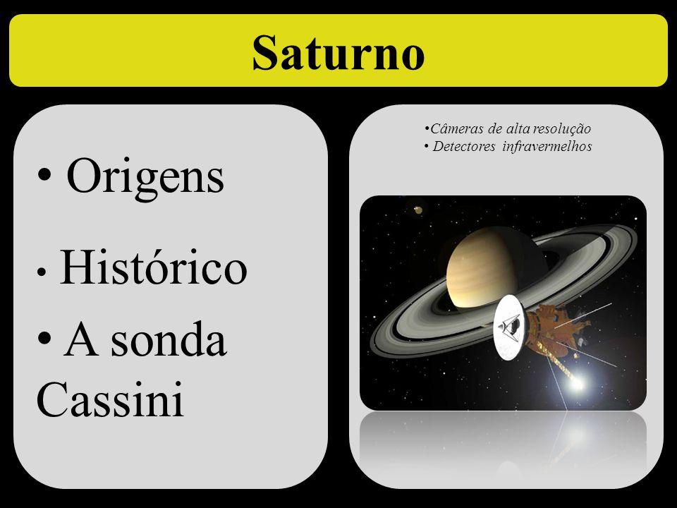 Saturno • Origens • Histórico • A sonda Cassini • Origens • Histórico • A sonda Cassini • Câmeras de alta resolução • Detectores infravermelhos