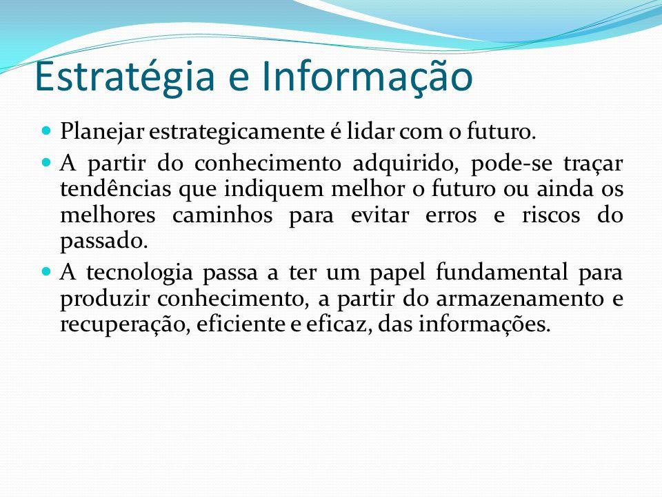 Estratégia e Informação  Planejar estrategicamente é lidar com o futuro.  A partir do conhecimento adquirido, pode-se traçar tendências que indiquem