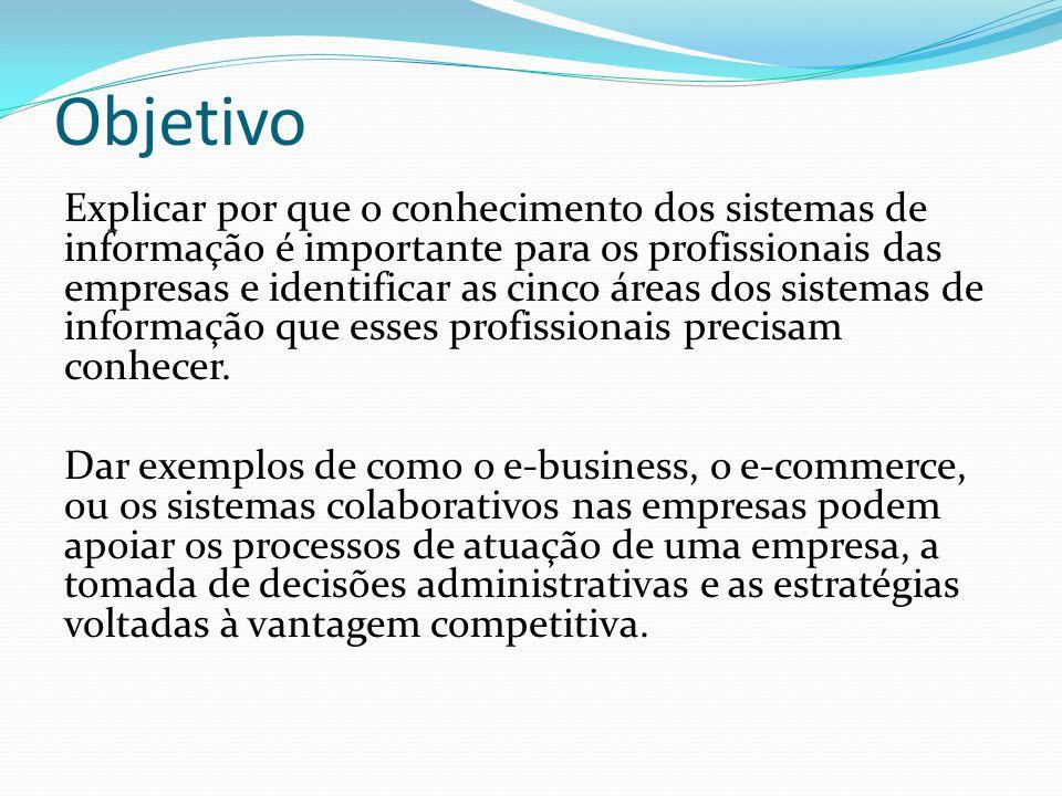 Objetivo Explicar por que o conhecimento dos sistemas de informação é importante para os profissionais das empresas e identificar as cinco áreas dos s