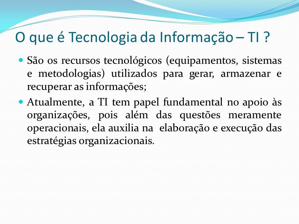 O que é Tecnologia da Informação – TI ?  São os recursos tecnológicos (equipamentos, sistemas e metodologias) utilizados para gerar, armazenar e recu