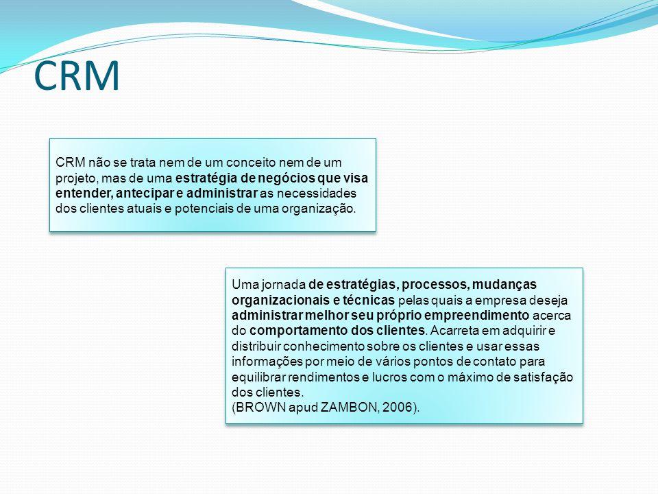 CRM CRM não se trata nem de um conceito nem de um projeto, mas de uma estratégia de negócios que visa entender, antecipar e administrar as necessidade