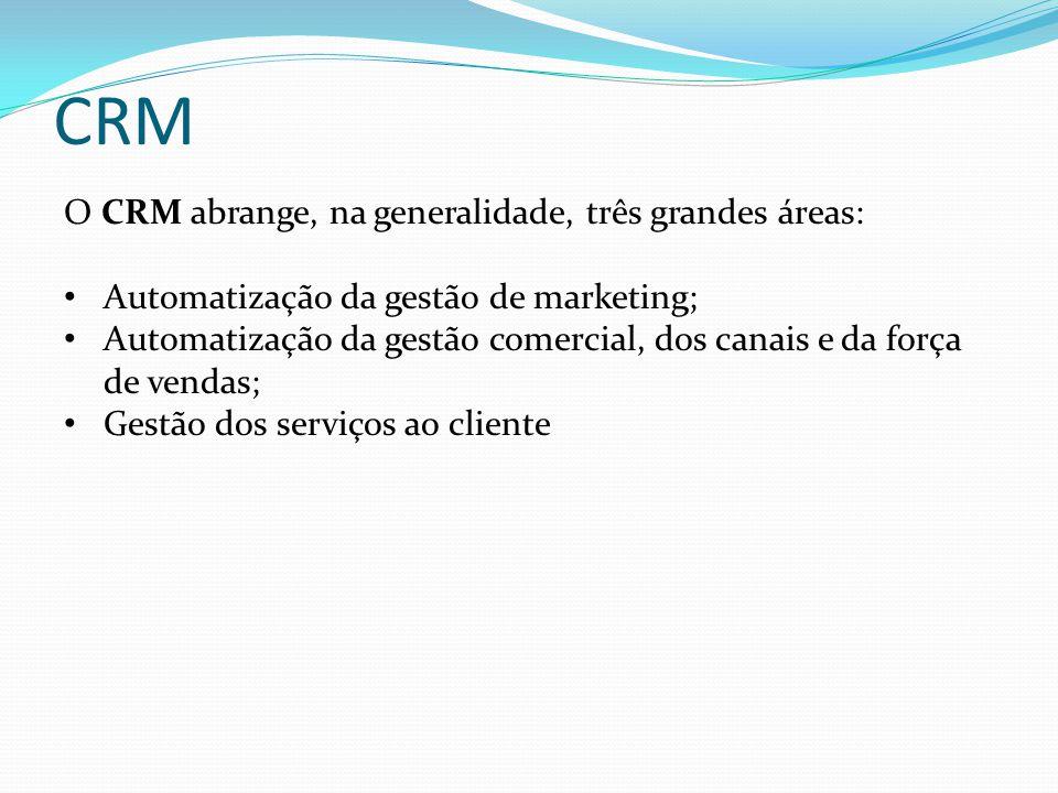 CRM O CRM abrange, na generalidade, três grandes áreas: • Automatização da gestão de marketing; • Automatização da gestão comercial, dos canais e da f
