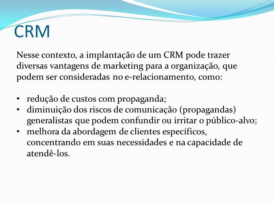 CRM Nesse contexto, a implantação de um CRM pode trazer diversas vantagens de marketing para a organização, que podem ser consideradas no e-relacionam