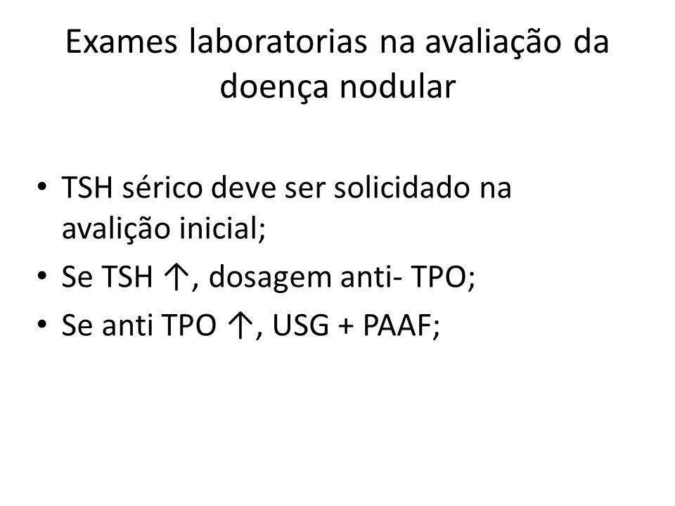 Exames laboratorias na avaliação da doença nodular • TSH sérico deve ser solicidado na avalição inicial; • Se TSH ↑, dosagem anti- TPO; • Se anti TPO