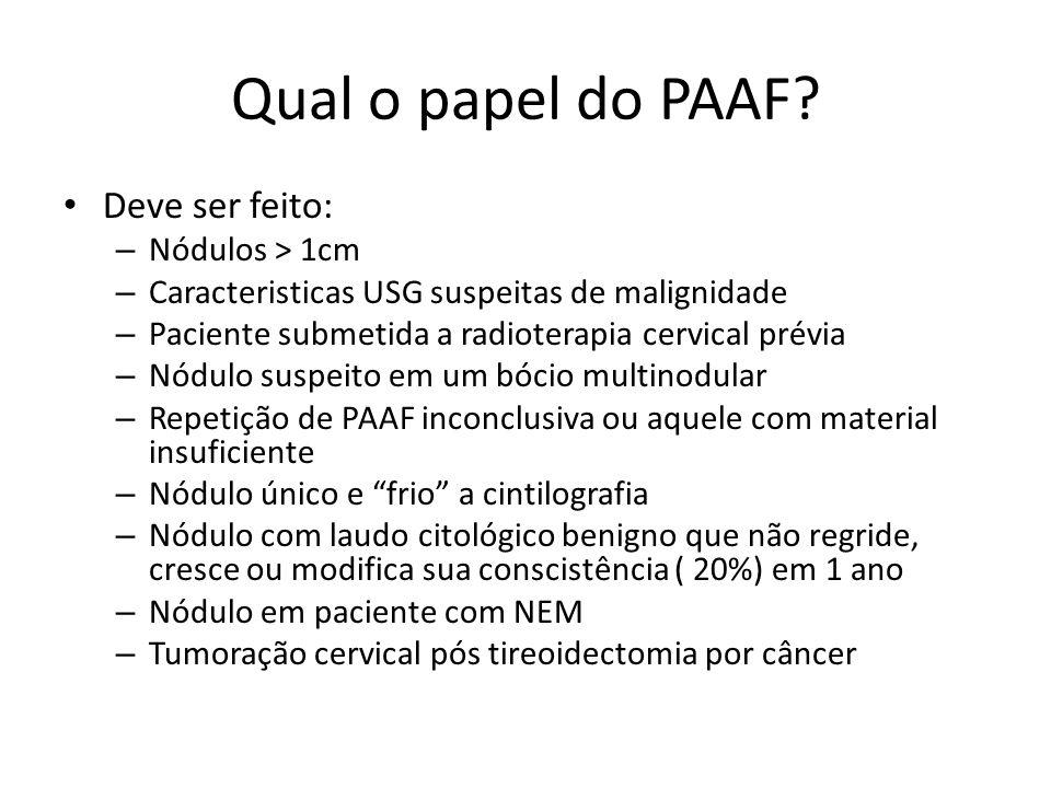 Qual o papel do PAAF? • Deve ser feito: – Nódulos > 1cm – Caracteristicas USG suspeitas de malignidade – Paciente submetida a radioterapia cervical pr
