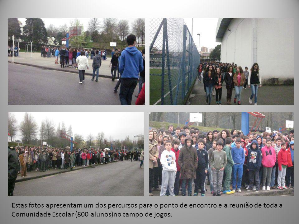 Estas fotos apresentam um dos percursos para o ponto de encontro e a reunião de toda a Comunidade Escolar (800 alunos)no campo de jogos.