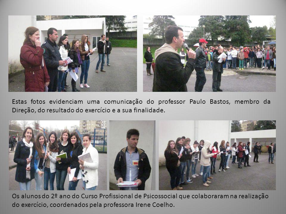 Os alunos do 2º ano do Curso Profissional de Psicossocial que colaboraram na realização do exercício, coordenados pela professora Irene Coelho.