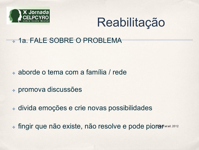 Reabilitação ✤ 1a. FALE SOBRE O PROBLEMA ✤ aborde o tema com a família / rede ✤ promova discussões ✤ divida emoções e crie novas possibilidades ✤ fing