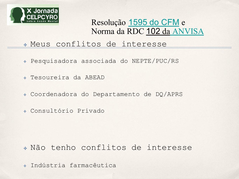 Resolução 1595 do CFM e Norma da RDC 102 da ANVISA 1595 do CFM ANVISA ✤ Meus conflitos de interesse ✤ Pesquisadora associada do NEPTE/PUC/RS ✤ Tesoure