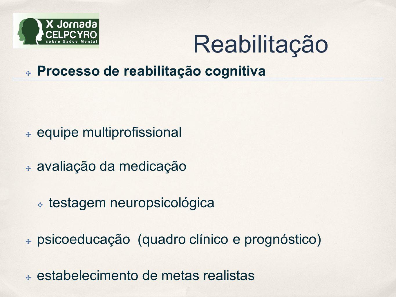 Reabilitação ✤ Processo de reabilitação cognitiva ✤ equipe multiprofissional ✤ avaliação da medicação ✤ testagem neuropsicológica ✤ psicoeducação (qua