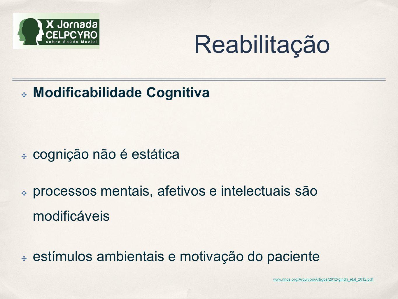 Reabilitação ✤ Modificabilidade Cognitiva ✤ cognição não é estática ✤ processos mentais, afetivos e intelectuais são modificáveis ✤ estímulos ambienta