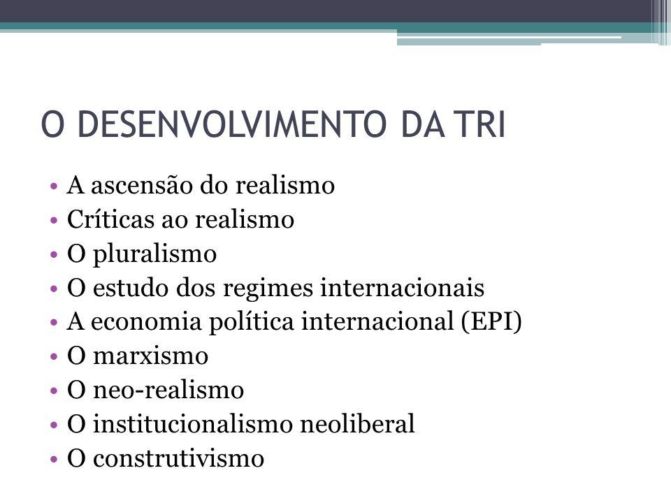 O DESENVOLVIMENTO DA TRI •A ascensão do realismo •Críticas ao realismo •O pluralismo •O estudo dos regimes internacionais •A economia política interna