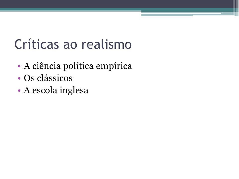 Críticas ao realismo •A ciência política empírica •Os clássicos •A escola inglesa