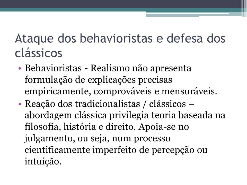 Ataque dos behavioristas e defesa dos clássicos •Behavioristas - Realismo não apresenta formulação de explicações precisas empiricamente, comprováveis