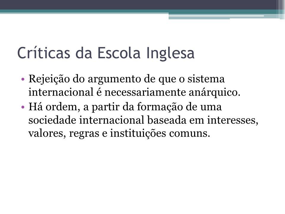 Críticas da Escola Inglesa •Rejeição do argumento de que o sistema internacional é necessariamente anárquico. •Há ordem, a partir da formação de uma s