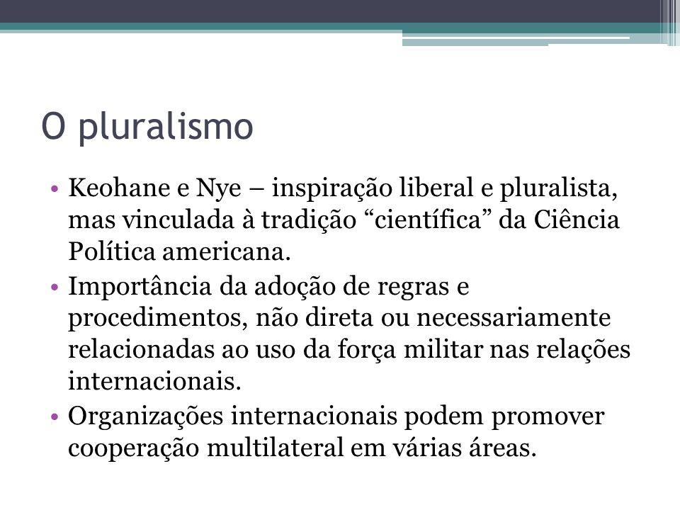 """O pluralismo •Keohane e Nye – inspiração liberal e pluralista, mas vinculada à tradição """"científica"""" da Ciência Política americana. •Importância da ad"""