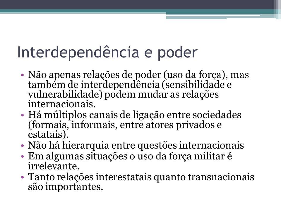 Interdependência e poder •Não apenas relações de poder (uso da força), mas também de interdependência (sensibilidade e vulnerabilidade) podem mudar as