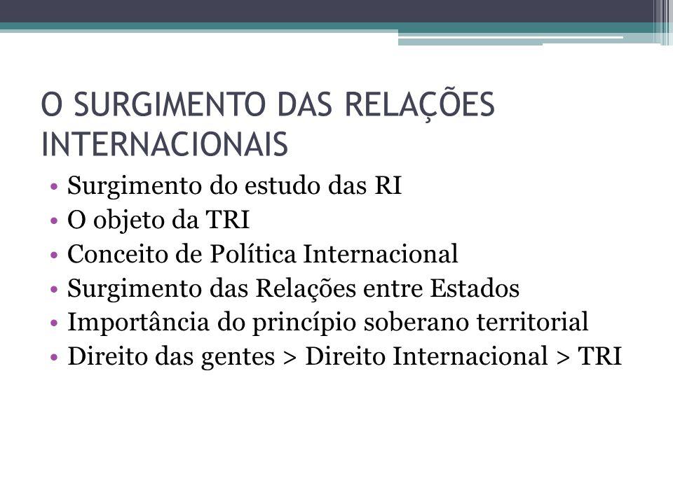 O SURGIMENTO DAS RELAÇÕES INTERNACIONAIS •Surgimento do estudo das RI •O objeto da TRI •Conceito de Política Internacional •Surgimento das Relações en