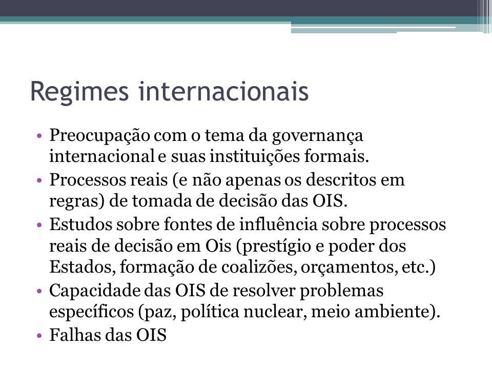 Regimes internacionais •Preocupação com o tema da governança internacional e suas instituições formais. •Processos reais (e não apenas os descritos em