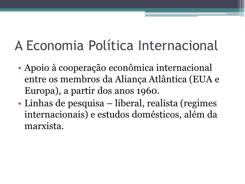 A Economia Política Internacional •Apoio à cooperação econômica internacional entre os membros da Aliança Atlântica (EUA e Europa), a partir dos anos