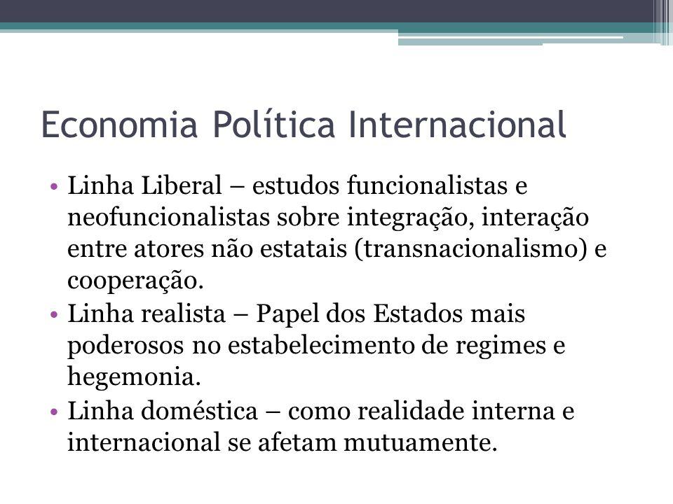Economia Política Internacional •Linha Liberal – estudos funcionalistas e neofuncionalistas sobre integração, interação entre atores não estatais (tra