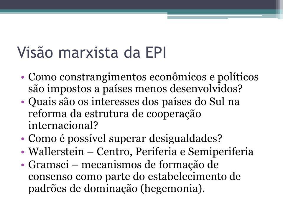 Visão marxista da EPI •Como constrangimentos econômicos e políticos são impostos a países menos desenvolvidos? •Quais são os interesses dos países do