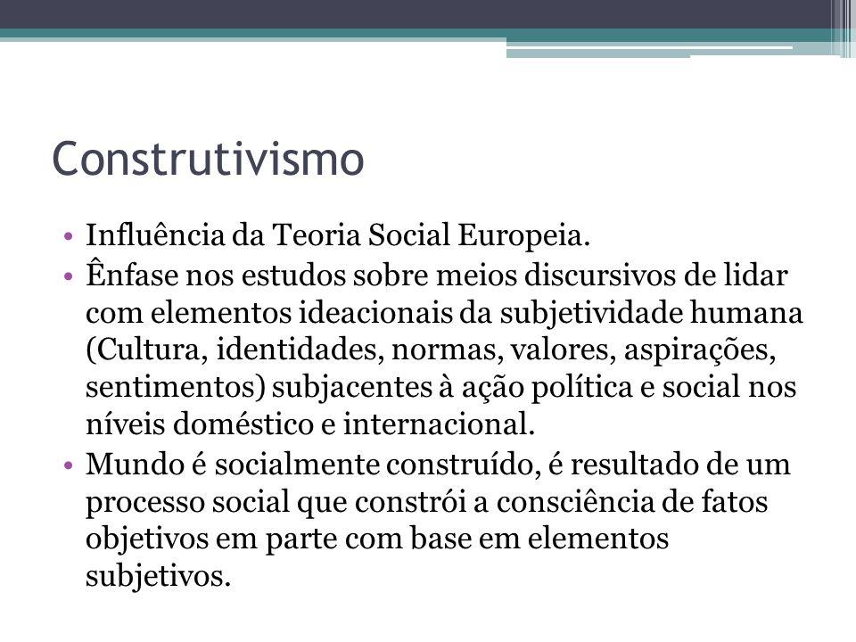Construtivismo •Influência da Teoria Social Europeia. •Ênfase nos estudos sobre meios discursivos de lidar com elementos ideacionais da subjetividade