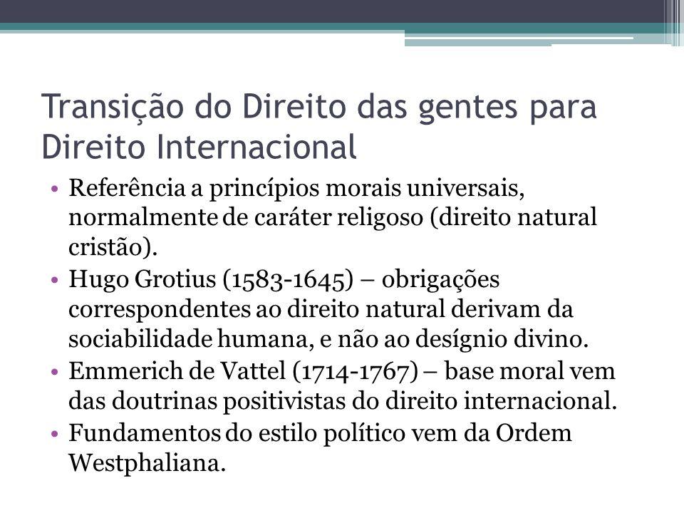 Transição do Direito das gentes para Direito Internacional •Referência a princípios morais universais, normalmente de caráter religoso (direito natura