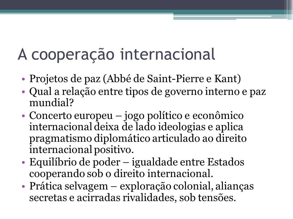 A cooperação internacional •Projetos de paz (Abbé de Saint-Pierre e Kant) •Qual a relação entre tipos de governo interno e paz mundial? •Concerto euro
