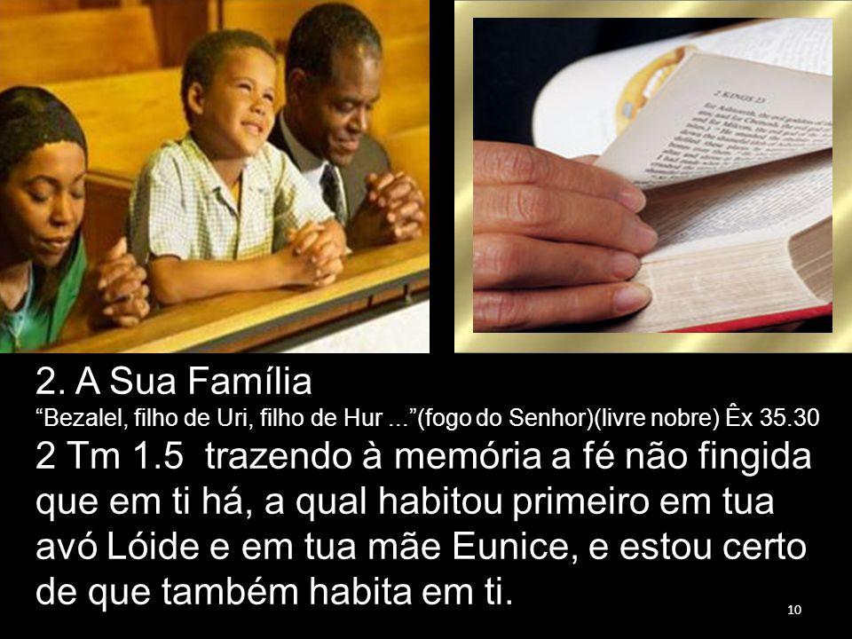 """10 2. A Sua Família """"Bezalel, filho de Uri, filho de Hur...""""(fogo do Senhor)(livre nobre) Êx 35.30 2 Tm 1.5 trazendo à memória a fé não fingida que em"""