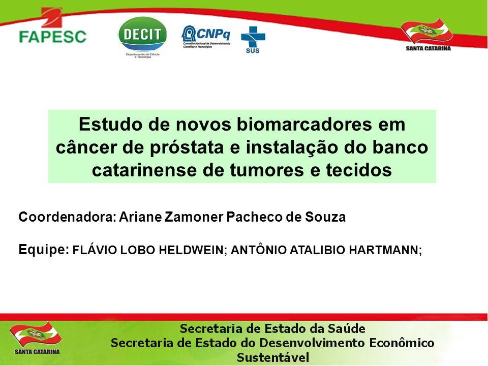Estudo de novos biomarcadores em câncer de próstata e instalação do banco catarinense de tumores e tecidos Coordenadora: Ariane Zamoner Pacheco de Sou