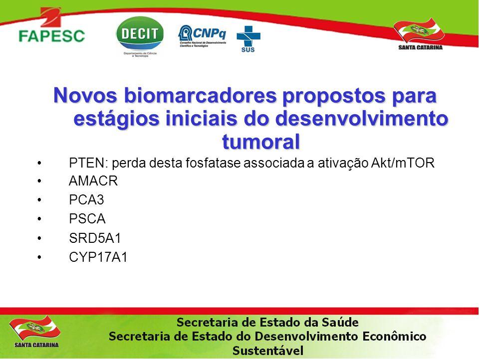 Novos biomarcadores propostos para estágios iniciais do desenvolvimento tumoral •PTEN: perda desta fosfatase associada a ativação Akt/mTOR •AMACR •PCA