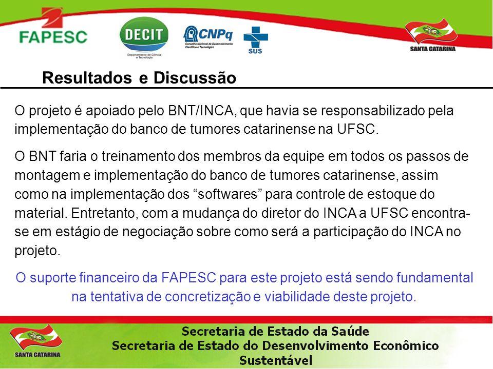 Resultados e Discussão O projeto é apoiado pelo BNT/INCA, que havia se responsabilizado pela implementação do banco de tumores catarinense na UFSC. O