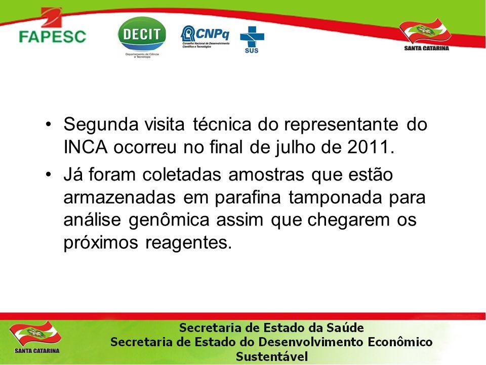 •Segunda visita técnica do representante do INCA ocorreu no final de julho de 2011. •Já foram coletadas amostras que estão armazenadas em parafina tam