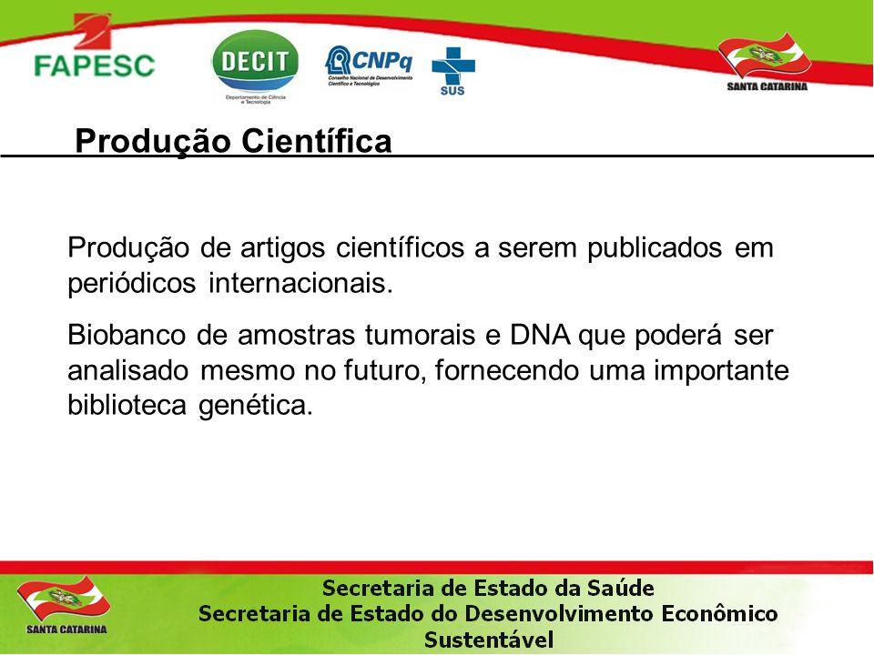 Produção Científica Produção de artigos científicos a serem publicados em periódicos internacionais. Biobanco de amostras tumorais e DNA que poderá se