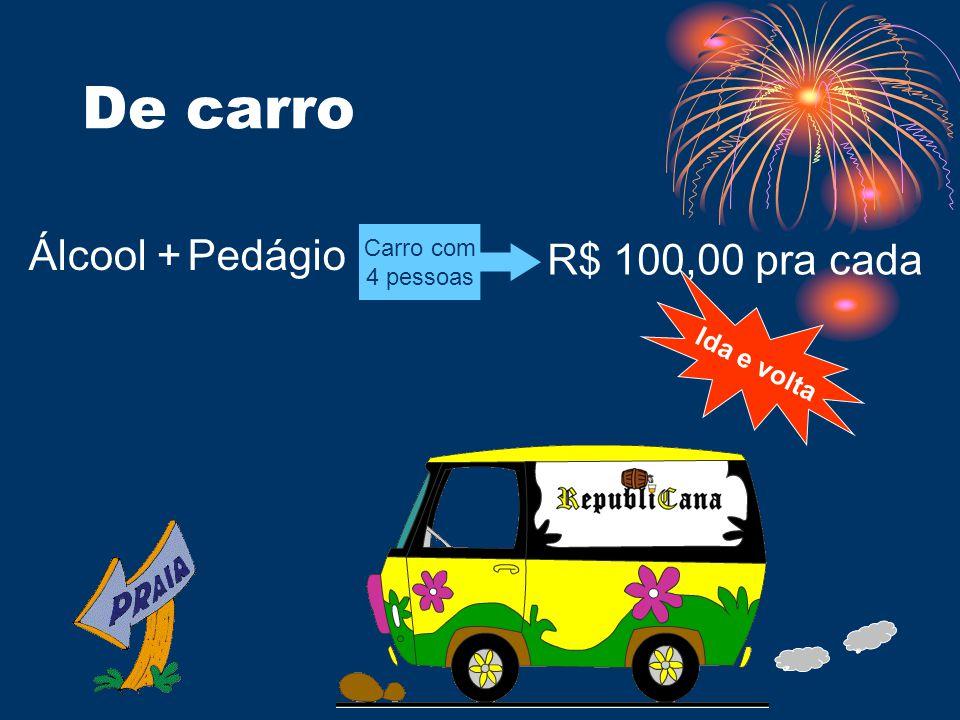 De carro Álcool +Pedágio R$ 100,00 pra cada Carro com 4 pessoas Ida e volta