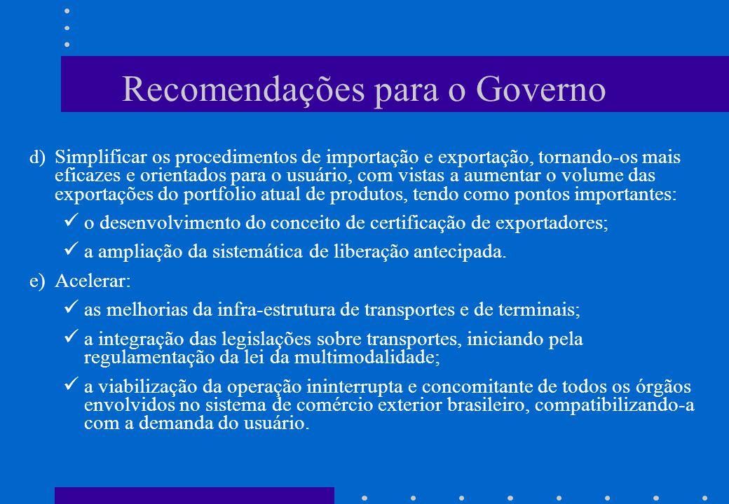 Recomendações para o Governo d) Simplificar os procedimentos de importação e exportação, tornando-os mais eficazes e orientados para o usuário, com vi