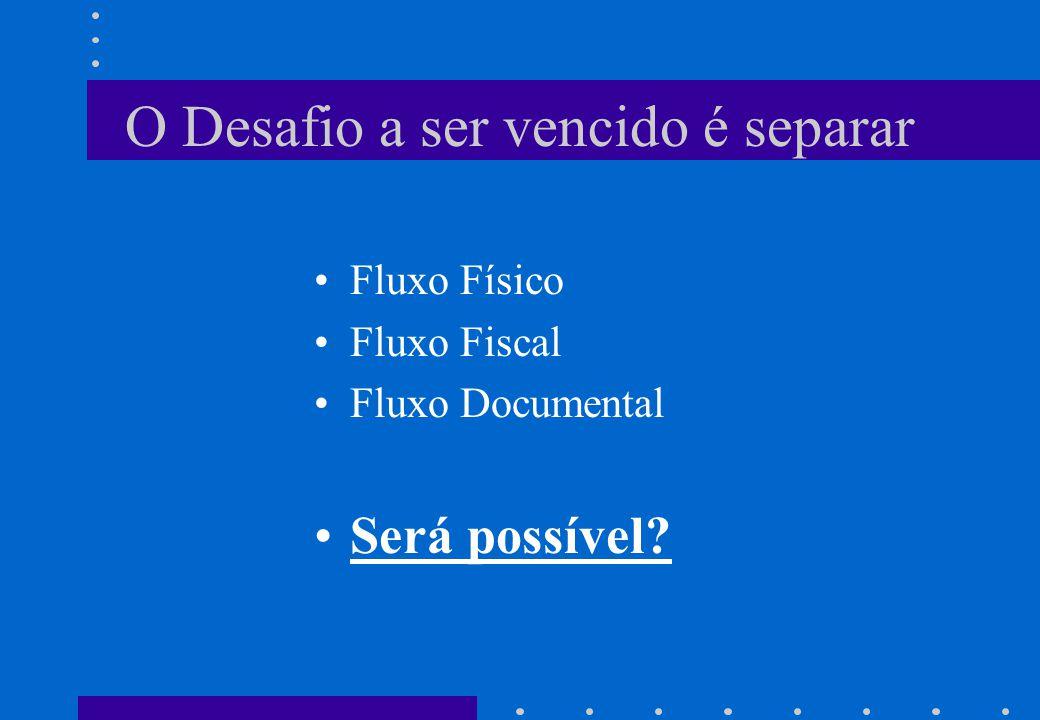 O Desafio a ser vencido é separar •Fluxo Físico •Fluxo Fiscal •Fluxo Documental •Será possível?