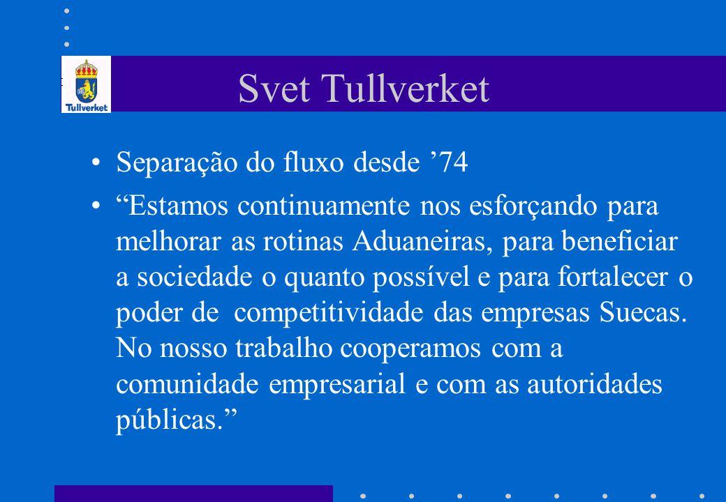 """Svet Tullverket •Separação do fluxo desde '74 •""""Estamos continuamente nos esforçando para melhorar as rotinas Aduaneiras, para beneficiar a sociedade"""
