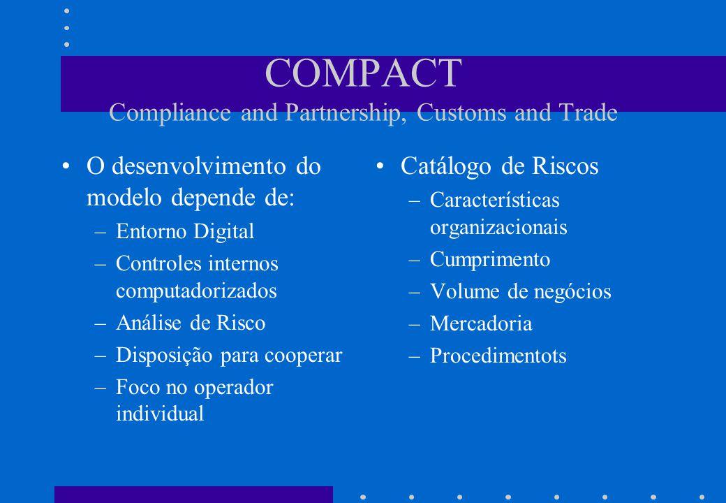 COMPACT Compliance and Partnership, Customs and Trade •O desenvolvimento do modelo depende de: –Entorno Digital –Controles internos computadorizados –